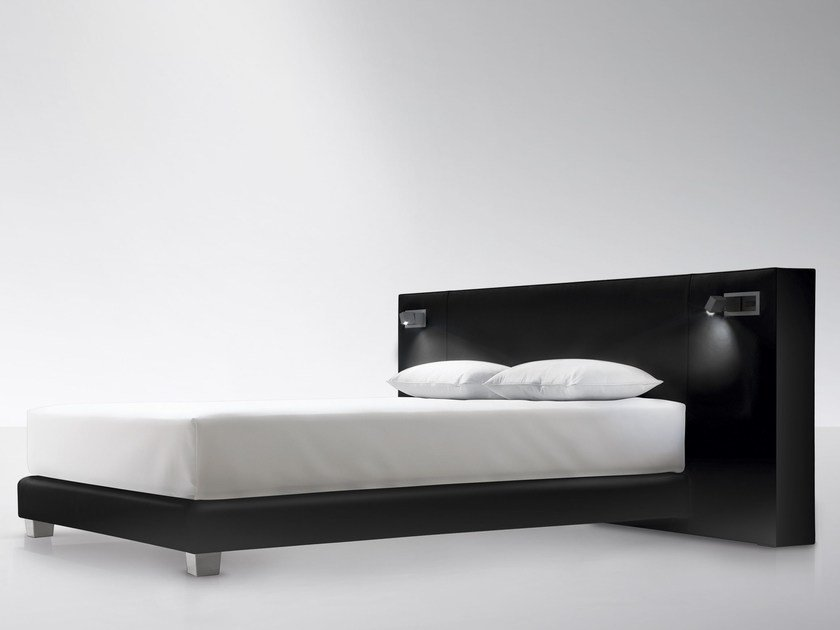 High upholstered leather headboard CUBE WIDE by Treca Interiors