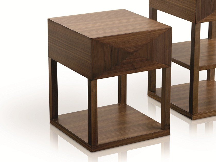 Square wooden bedside table with drawers MORPHEE | Bedside table by Treca Interiors
