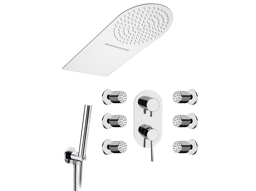 Stainless steel shower mixer with overhead shower MINIMAL   Shower mixer with overhead shower by Remer Rubinetterie