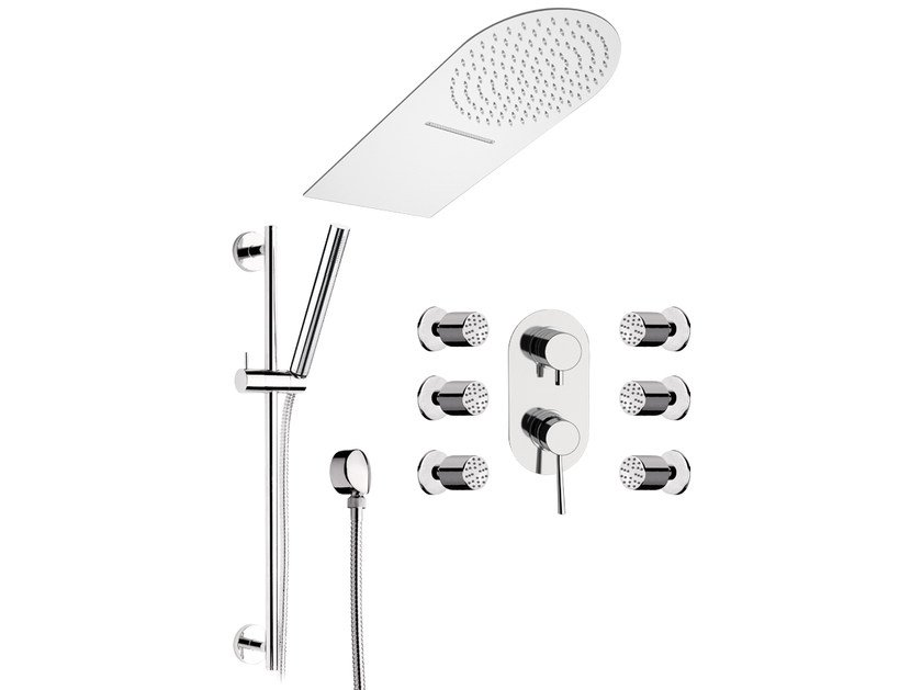Stainless steel shower wallbar with hand shower MINIMAL | Shower wallbar with hand shower by Remer Rubinetterie