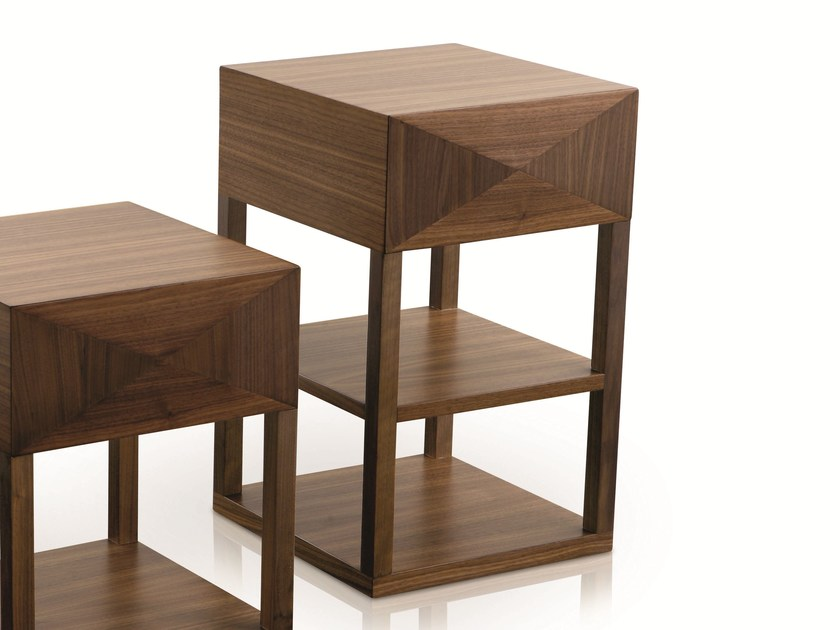 Square wooden bedside table with drawers MORPHEE | Wooden bedside table by Treca Interiors