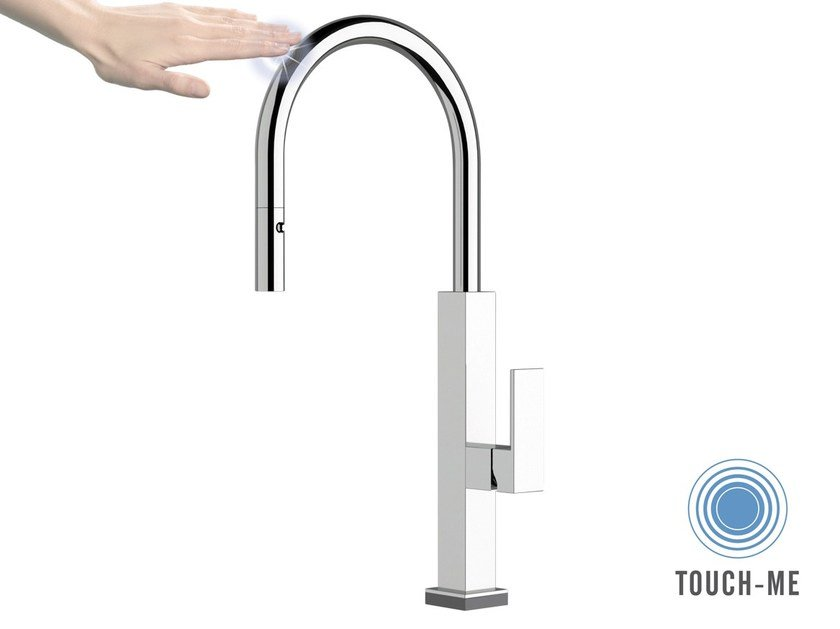 Kitchen mixer tap with swivel spout with pull out spray QKT 73   Electronic kitchen mixer tap by Remer Rubinetterie