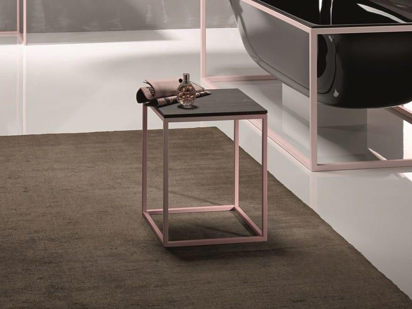 Sgabello per bagno in acciaio e legno bettelux shape sgabello per