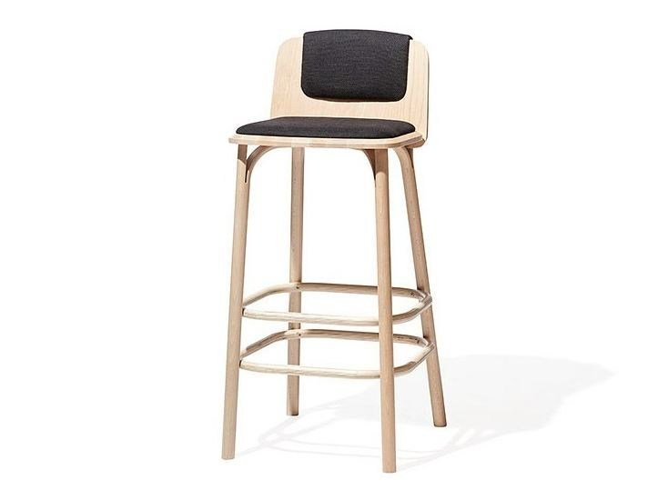 Wooden stool with footrest SPLIT | Stool with footrest by TON