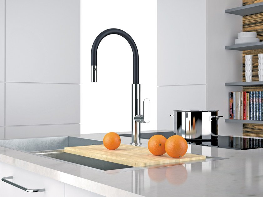 Countertop kitchen mixer tap with pull out spray NK 73 N | Kitchen mixer tap by Remer Rubinetterie