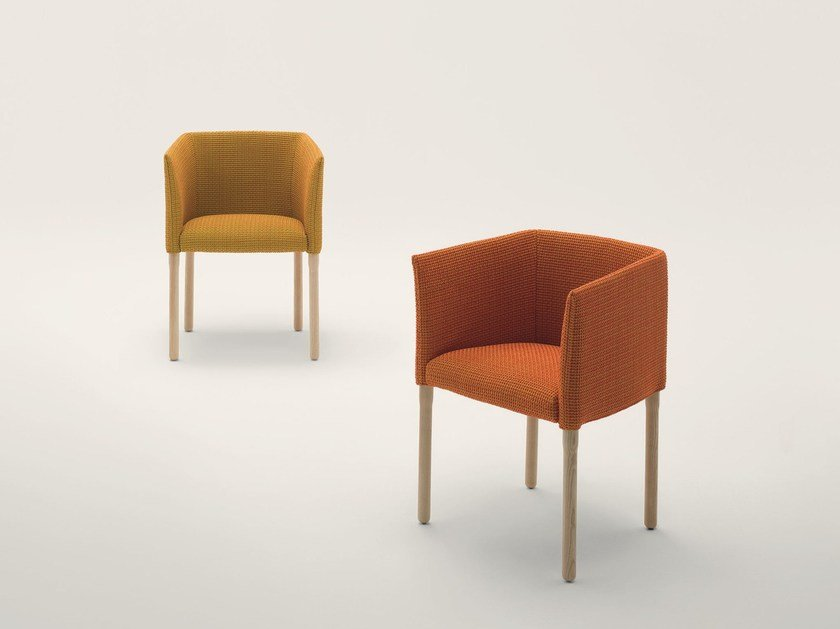 Upholstered easy chair with removable cover ELSIE | Easy chair by paola lenti