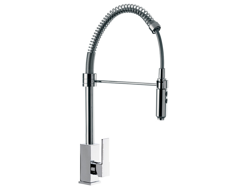 Countertop 1 hole kitchen mixer tap with spray Q 87 | Kitchen mixer tap by Remer Rubinetterie