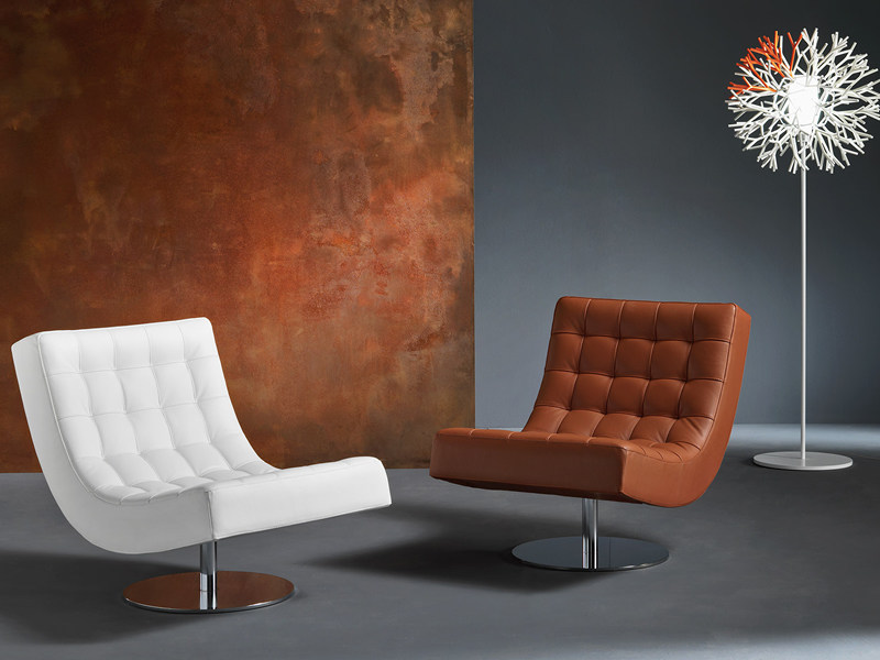 Tufted upholstered leather easy chair SISSI by Divanidea