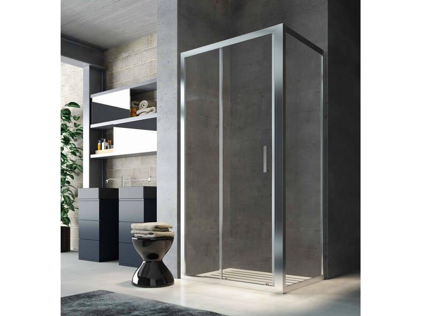 Corner glass shower cabin with sliding door SLINTA SO+SH by Glass1989