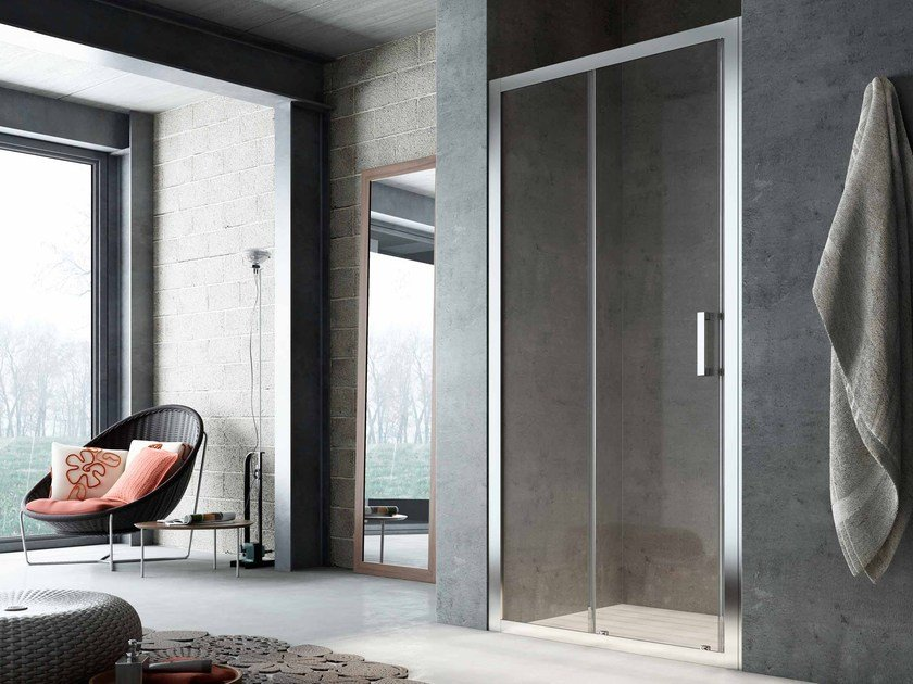 Niche glass shower cabin with sliding door SLINTA SO by Glass1989