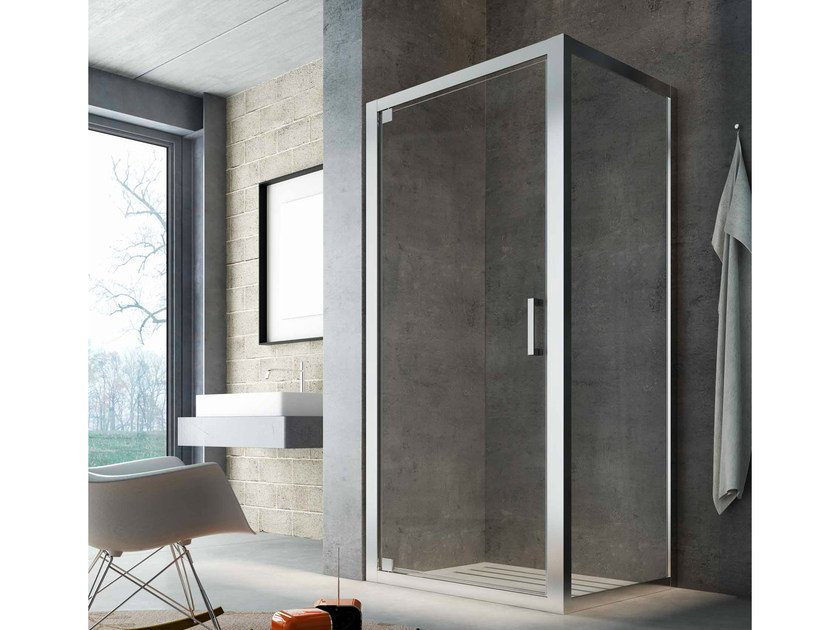 Corner glass shower cabin with hinged door SLINTA SG+SH by Glass1989