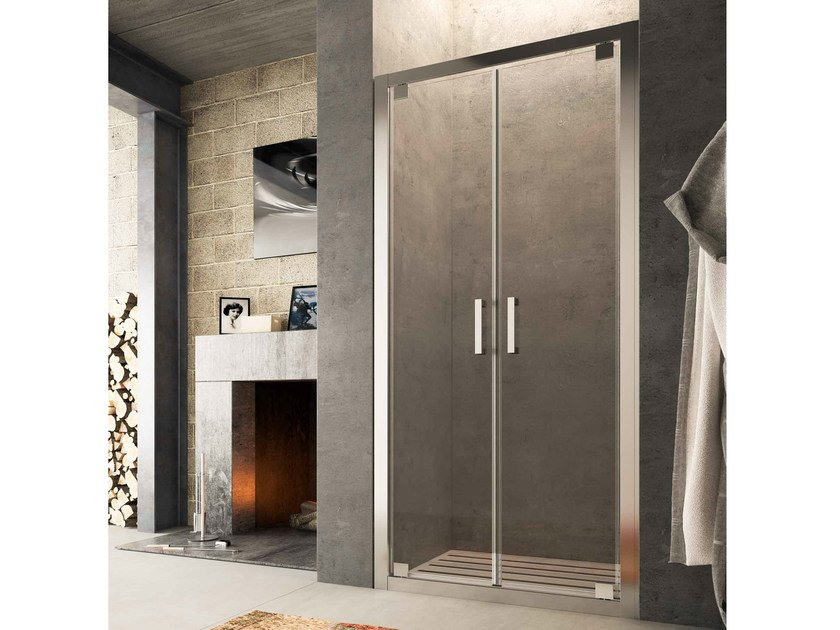 Niche glass shower cabin with hinged door SLINTA SJ by Glass1989