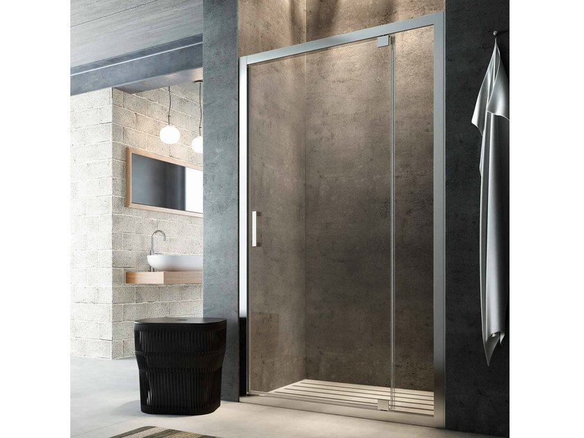 Niche glass shower cabin with hinged door SLINTA SK by Glass1989