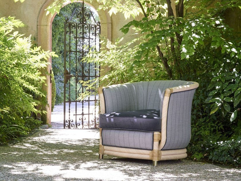 Rattan garden armchair with armrests MARLENE LUXURY | Garden armchair by Dolcefarniente