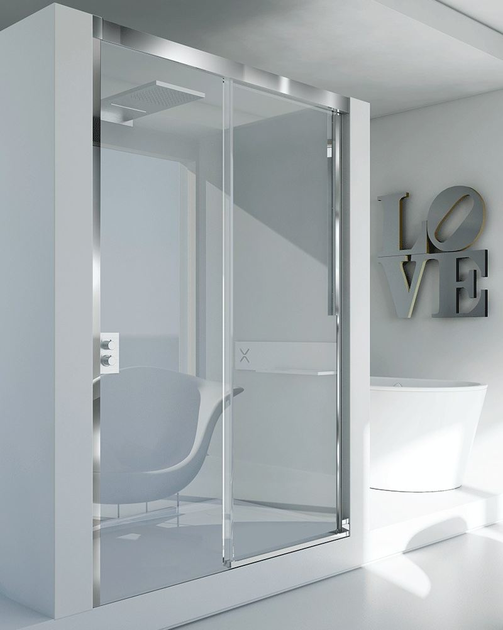 Corner glass and aluminium shower cabin with sliding door MYRES SC1 by RELAX