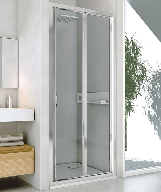 Niche glass and aluminium shower cabin with folding door LYRA PS by RELAX