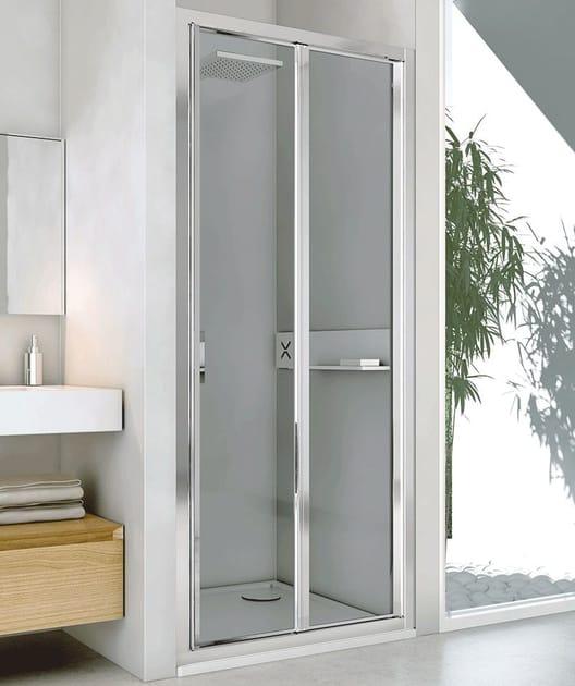 Box doccia a nicchia in alluminio e vetro con porta a - Porta a soffietto in vetro ...