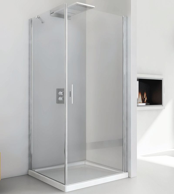 Corner crystal shower cabin with hinged door LIGHT AB + F3 by RELAX