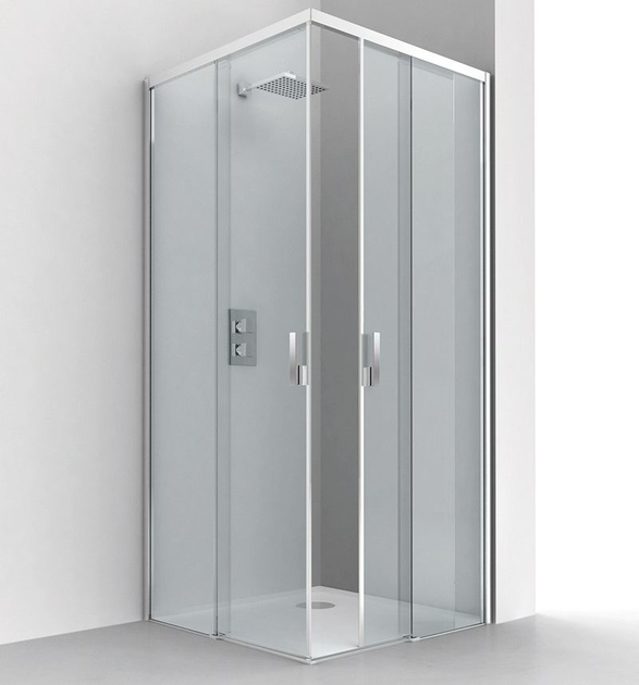 Corner crystal shower cabin with sliding door LIGHT A + A by RELAX