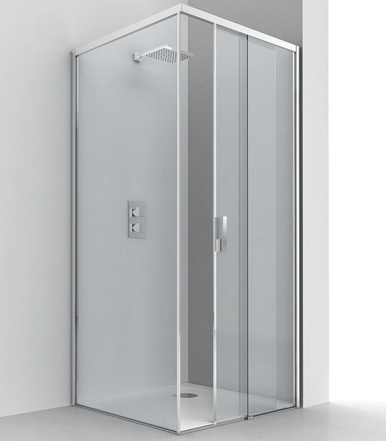 Corner crystal shower cabin with sliding door LIGHT SF + F1 by RELAX