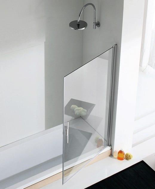 Glass and aluminium bathtub wall panel LIGHT VP2 by RELAX