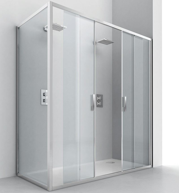 Corner crystal shower cabin with sliding door EVOLUTION SC2 + F2 by RELAX