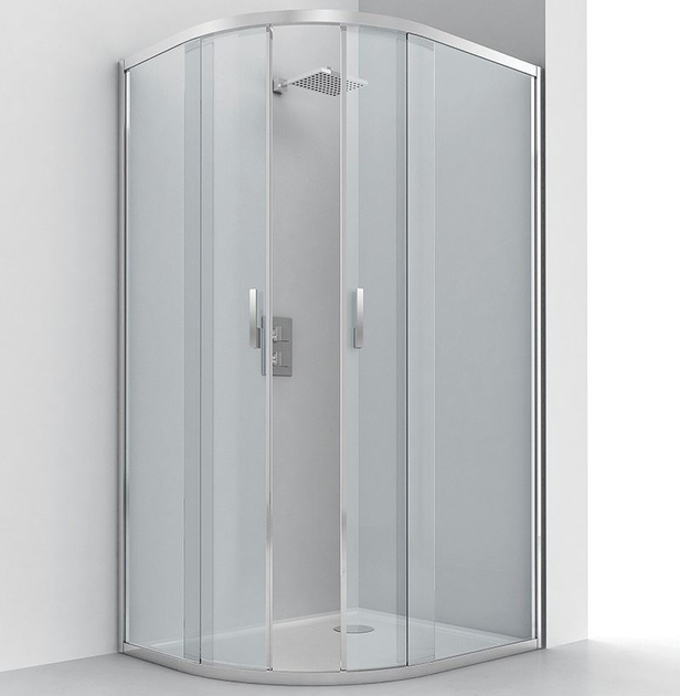 Semicircular glass and aluminium shower cabin with sliding door EVOLUTION RA-S by RELAX