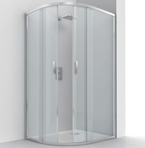 Box doccia semicircolare in alluminio e vetro con porta scorrevole EVOLUTION RA-S by RELAX