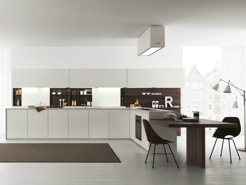 Acacia kitchen with peninsula AXIS 012 | Kitchen with peninsula by Zampieri Cucine