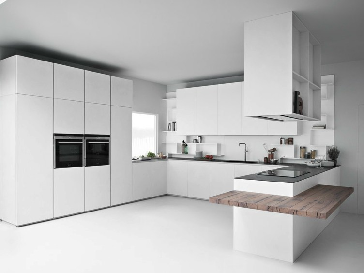 Concrete resin kitchen with peninsula LINE K | Kitchen with peninsula by Zampieri Cucine