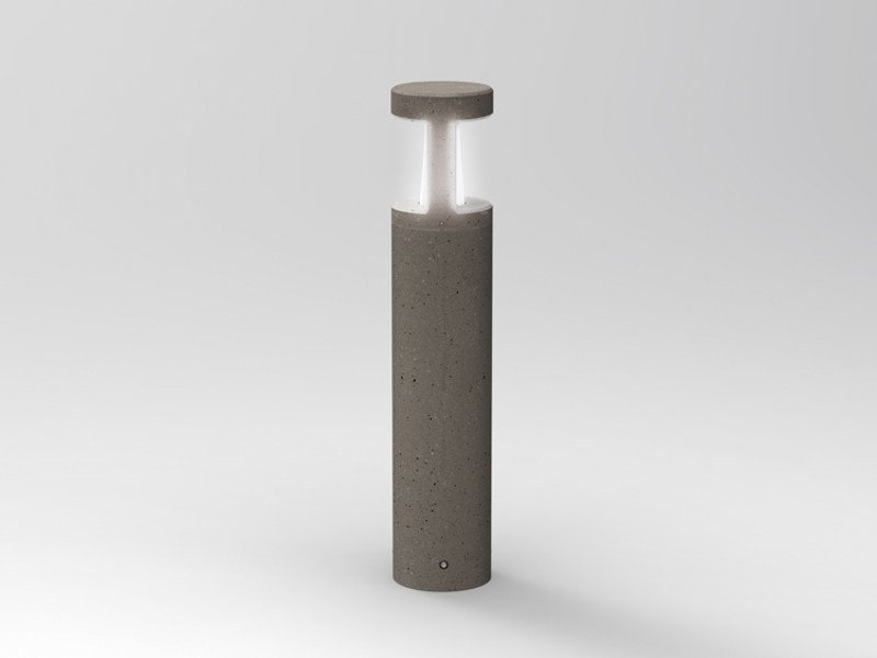 Contemporary style cement bollard light PIPELINE T 90 by Lombardo
