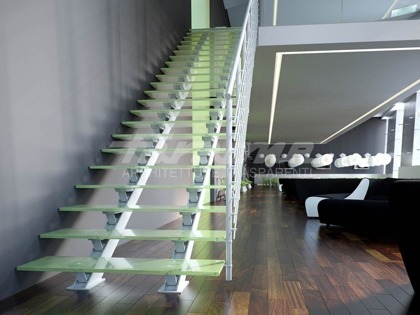 Straight glass and aluminium Open staircase ESSENZA 2 | Aluminium Open staircase by FARAONE