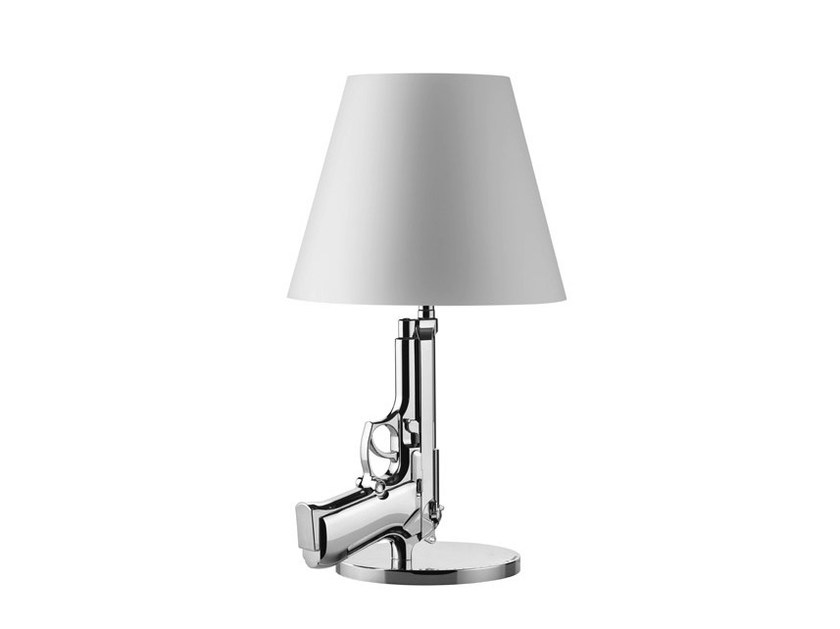 LED direct-indirect light chrome plated steel table lamp BEDSIDE GUN | Chrome plated steel desk lamp by FLOS