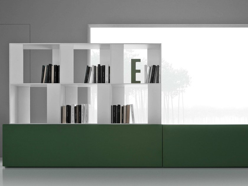 Freestanding divider bookcase with drawers LINE K | Bookcase with drawers by Zampieri Cucine
