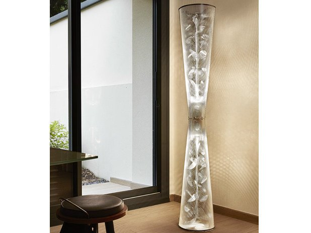 Contemporary style stainless steel floor lamp FLORALE N°22 by Thierry Vidé design