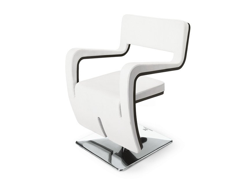 Swivel upholstered chair with armrests WAVE by OUTSIDER