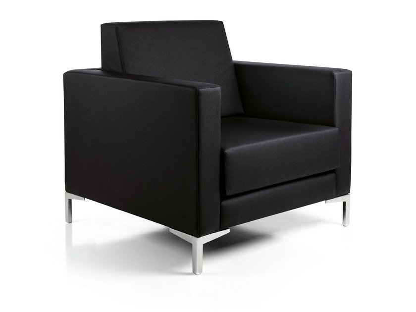 Upholstered imitation leather armchair with armrests CLUBCARRÉ by OUTSIDER