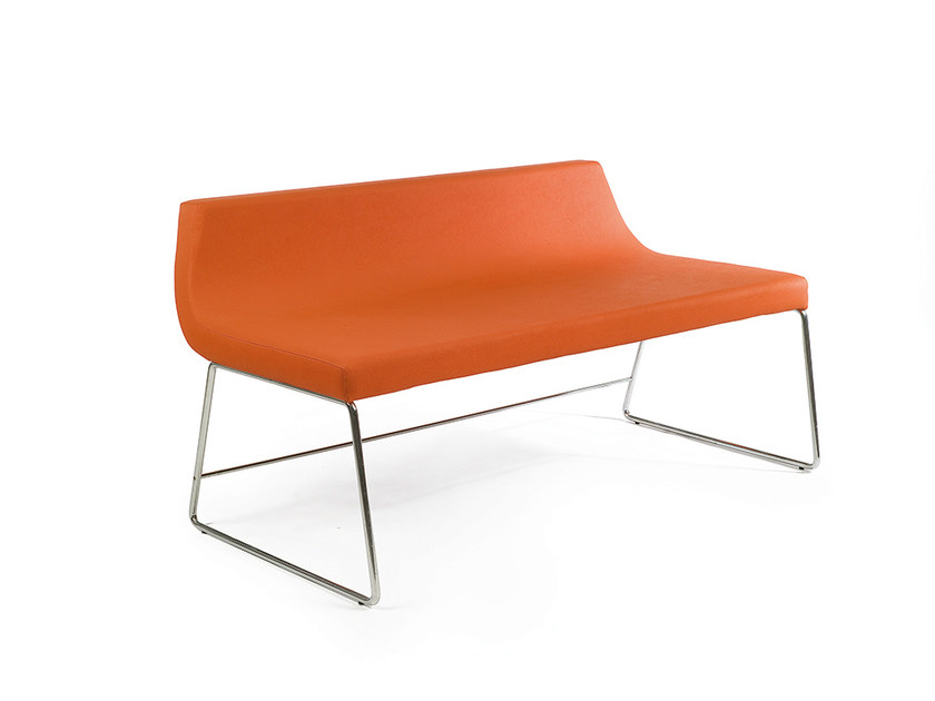 Upholstered fabric bench with back SENTETZO by OUTSIDER