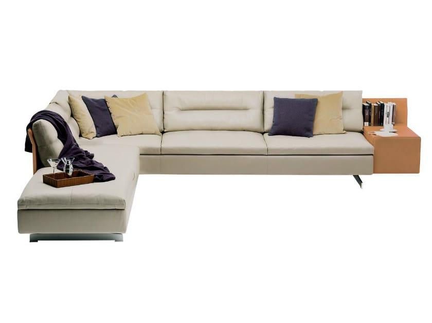 Sectional sofa with integrated magazine rack GRANTORINO | Sectional sofa by Poltrona Frau