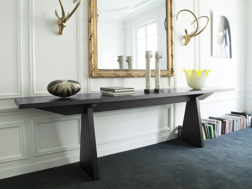 Lacquered rectangular multi-layer wood console table BONAPARTE by MALHERBE EDITION