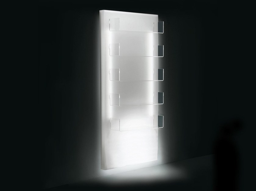 Wall-mounted plexiglass display unit with light LUMI by OUTSIDER