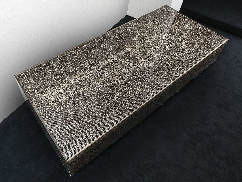 Low rectangular glass coffee table LE GISANT by MALHERBE EDITION