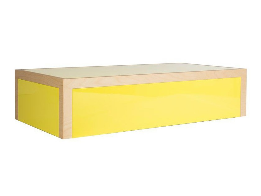 Lacquered rectangular multi-layer wood coffee table FAUX SEMBLANT by MALHERBE EDITION