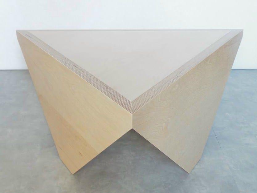 Triangular multi-layer wood coffee table TRIANGLE T3 by MALHERBE EDITION