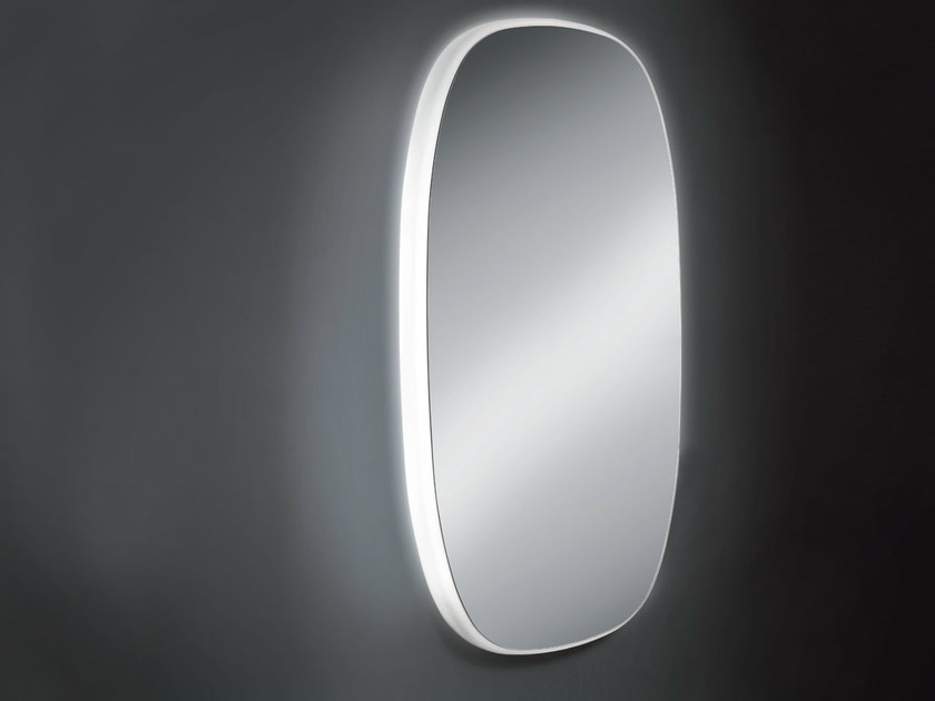 Oval wall-mounted mirror with integrated lighting URBAN by OUTSIDER