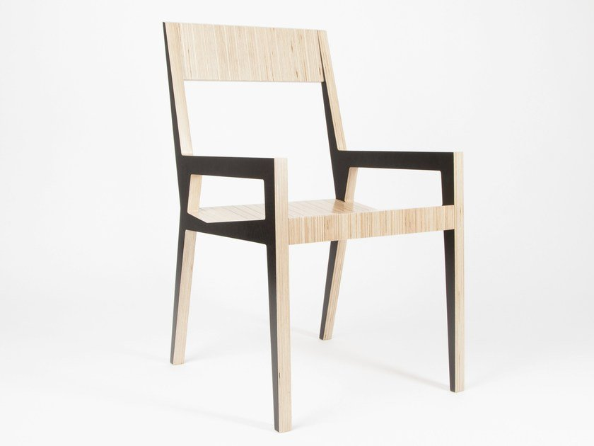 Multi-layer wood chair with armrests MICKAEL by MALHERBE EDITION