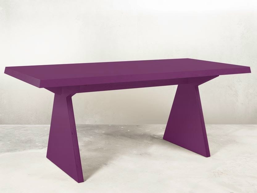 Lacquered rectangular multi-layer wood table TR 1 | Lacquered table by MALHERBE EDITION