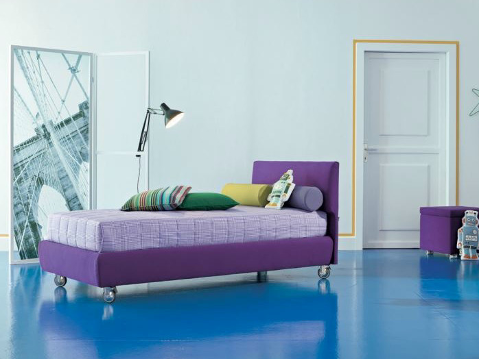 Fabric single bed on casters DYLAN | Bed on casters by Twils