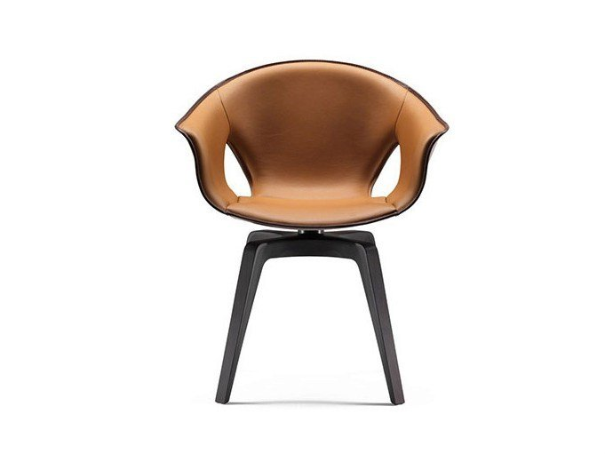 Swivel tanned leather chair GINGER by Poltrona Frau
