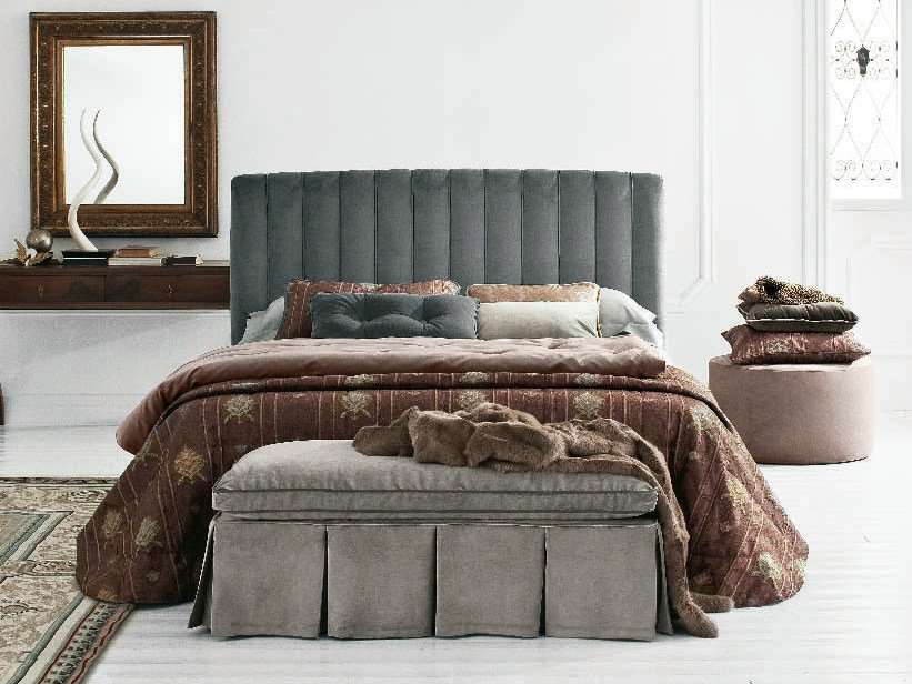 Fabric storage bed with high headboard with upholstered headboard GRACE BARRÈ   Fabric bed by Twils